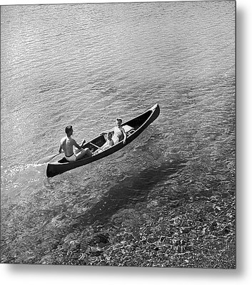 Family Canoe Excursion Metal Print by Underwood Archives