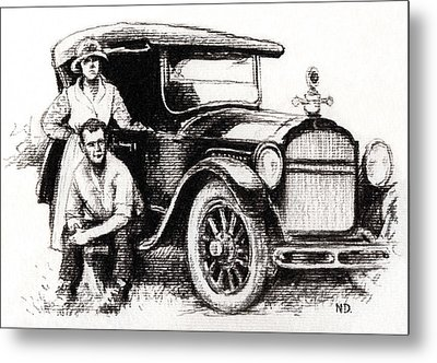 Metal Print featuring the drawing Family Car by Natasha Denger