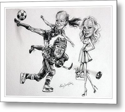 Family Caricature Metal Print