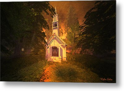 Metal Print featuring the digital art Family Chapel by Kylie Sabra