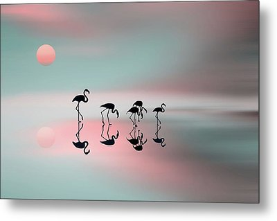 Family Flamingos Metal Print by Natalia Baras
