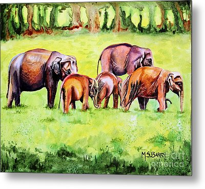 Family Of Elephants Metal Print by Maria Barry