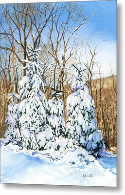 Metal Print featuring the painting Family Of Four Trailside At 7 Springs by Barbara Jewell
