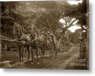 Family Out Carriage Ride On The 17 Mile Drive In Pebble Beach Circa 1895 Metal Print