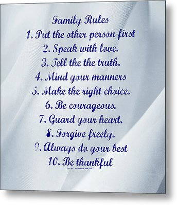 Family Rules Blue Metal Print by Marty Koch