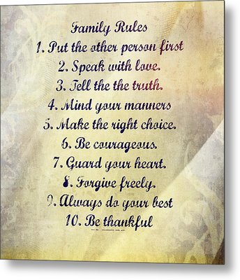 Family Rules Metal Print by Marty Koch