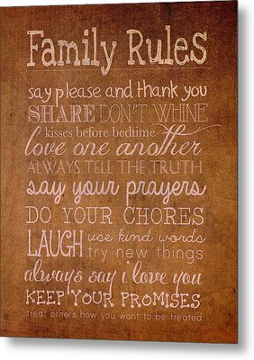 Family Rules Words Of Wisdom On Worn Distressed Canvas Metal Print