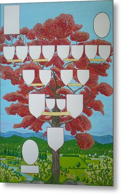 Family Tree Ruby-red Metal Print by Alix Mordant