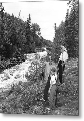 Family Trout Fishing Metal Print by Underwood Archives