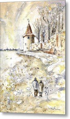 Family Walk In Lindau Metal Print by Miki De Goodaboom