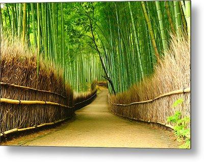 Famous Bamboo Grove At Arashiyama Metal Print by Lanjee Chee