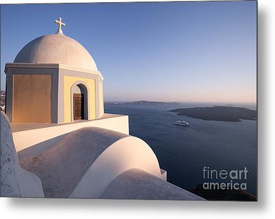 Famous Orthodox Church In Santorini Greece At Sunset Metal Print by Matteo Colombo