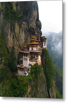 Famous Tigers Nest Monastery Of Bhutan Metal Print by Lanjee Chee