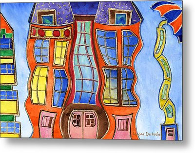 Metal Print featuring the painting Fanciful Wavy House Painting by Lenora  De Lude