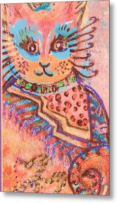 Fancy Cat Metal Print by Anne-Elizabeth Whiteway