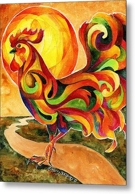 Fancy Feathers Rooster Metal Print by Sherry Shipley