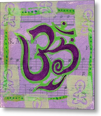 Fancy Om Whisper Buddhas Metal Print