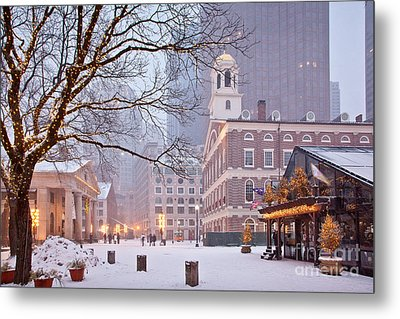 Faneuil Hall In Snow Metal Print by Susan Cole Kelly