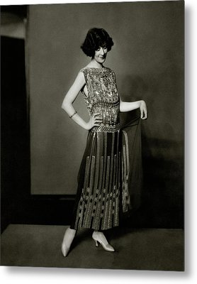 Fanny Brice Wearing A Dress Metal Print by Edward Steichen