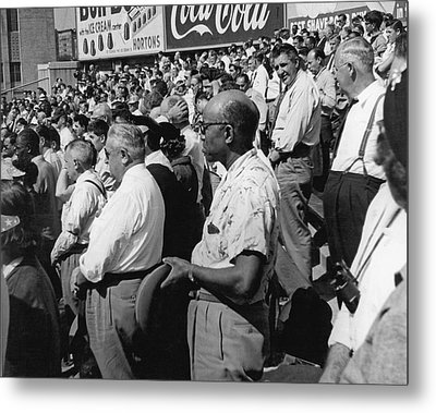 Fans At Yankee Stadium Stand For The National Anthem At The Star Metal Print by Underwood Archives