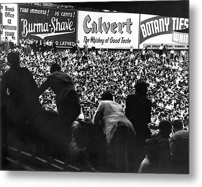 Fans In The Bleachers During A Baseball Game At Yankee Stadium Metal Print by Underwood Archives