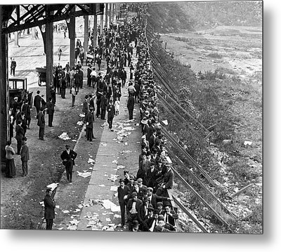 Fans Wait For Series Tickets. Metal Print by Underwood Archives