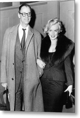 Marilyn Monroe And Arthur Miller Metal Print by Retro Images Archive