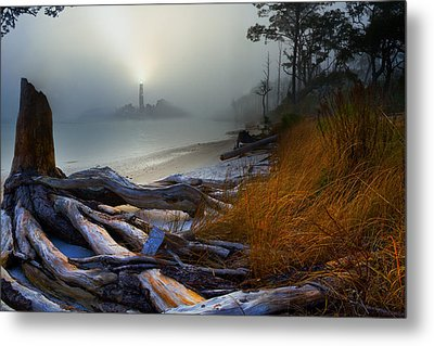 Metal Print featuring the photograph Fantasy Art-sea Fog Island Lighthouse Night-twisted Roots by Eszra Tanner