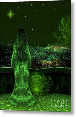 Fantasy Art - Wishing Upon A Star In A Green Night  By Rgiada  Metal Print