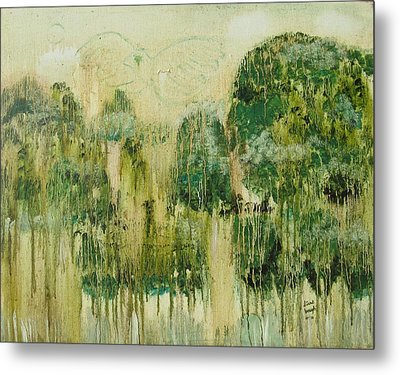 Metal Print featuring the painting Fantasy Forest by Diane Pape