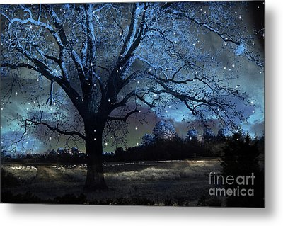Fantasy Blue Nature Fairy Lights Photography - Blue Starry Surreal Gothic Fantasy Trees And Stars Metal Print by Kathy Fornal