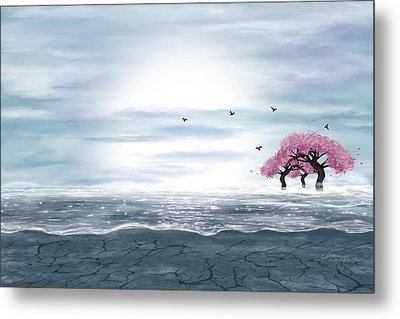 Fantasy Landscape In Blue And Gray Colors Metal Print