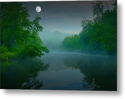 Fantasy Moon Over Misty Lake Metal Print