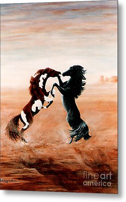 Fantasy Mustangs Metal Print by DiDi Higginbotham