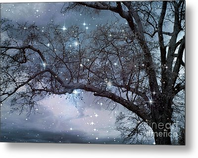 Fantasy Nature Blue Starry Surreal Gothic Fantasy Blue Trees Nature Starry Night Metal Print by Kathy Fornal