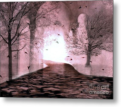 Fantasy Nature Trees - Haunting Surreal Path Trees And Birds Metal Print by Kathy Fornal