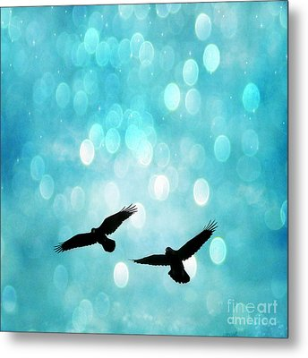 Fantasy Surreal Ravens Flying - Aquamarine Blue Bokeh Sparkling Lights Metal Print by Kathy Fornal