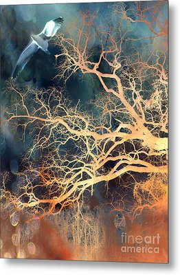 Seagull Gothic Fantasy Surreal Trees And Seagull Flying Metal Print