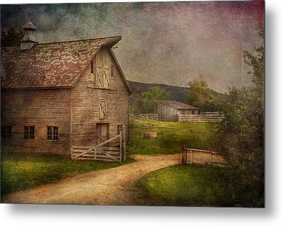 Farm - Barn - The Old Gray Barn  Metal Print by Mike Savad