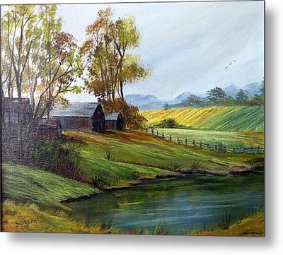 Metal Print featuring the painting Farm by Dorothy Maier
