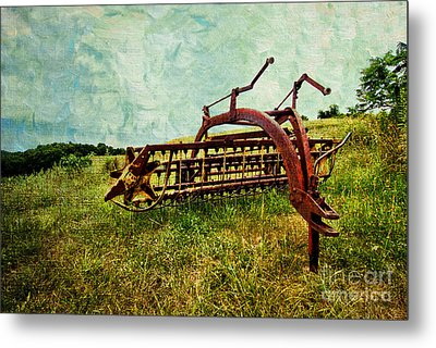 Farm Equipment In A Field Metal Print