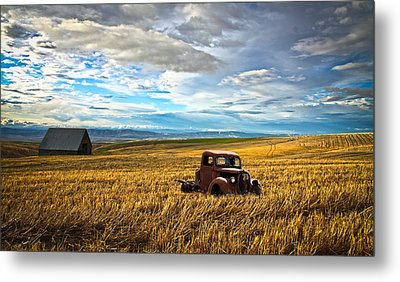 Farm Field Pickup Metal Print by Steve McKinzie