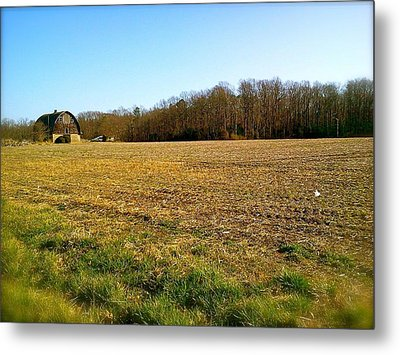 Metal Print featuring the photograph Farm Field With Old Barn by Amazing Photographs AKA Christian Wilson
