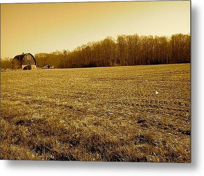Metal Print featuring the photograph Farm Field With Old Barn In Sepia by Amazing Photographs AKA Christian Wilson