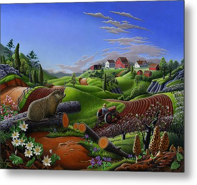Farm Folk Art - Groundhog Spring Appalachia Landscape - Rural Country Americana - Woodchuck Metal Print by Walt Curlee