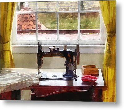 Farm House With Sewing Machine Metal Print