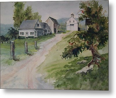 Metal Print featuring the painting Farm On Orchard Hill by Joy Nichols
