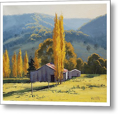Farm Sheds Painting Metal Print by Graham Gercken