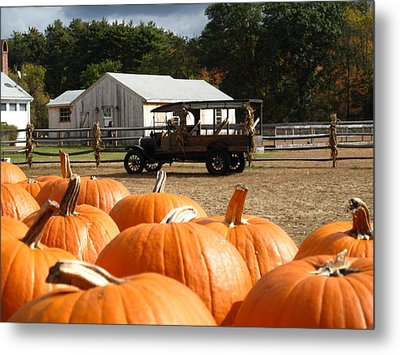 Farm Stand Pumpkins Metal Print by Barbara McDevitt