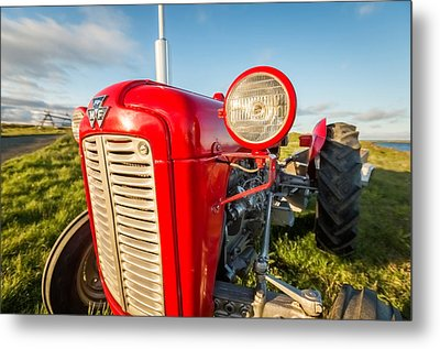 Farm Tractor, Flatey Island Metal Print